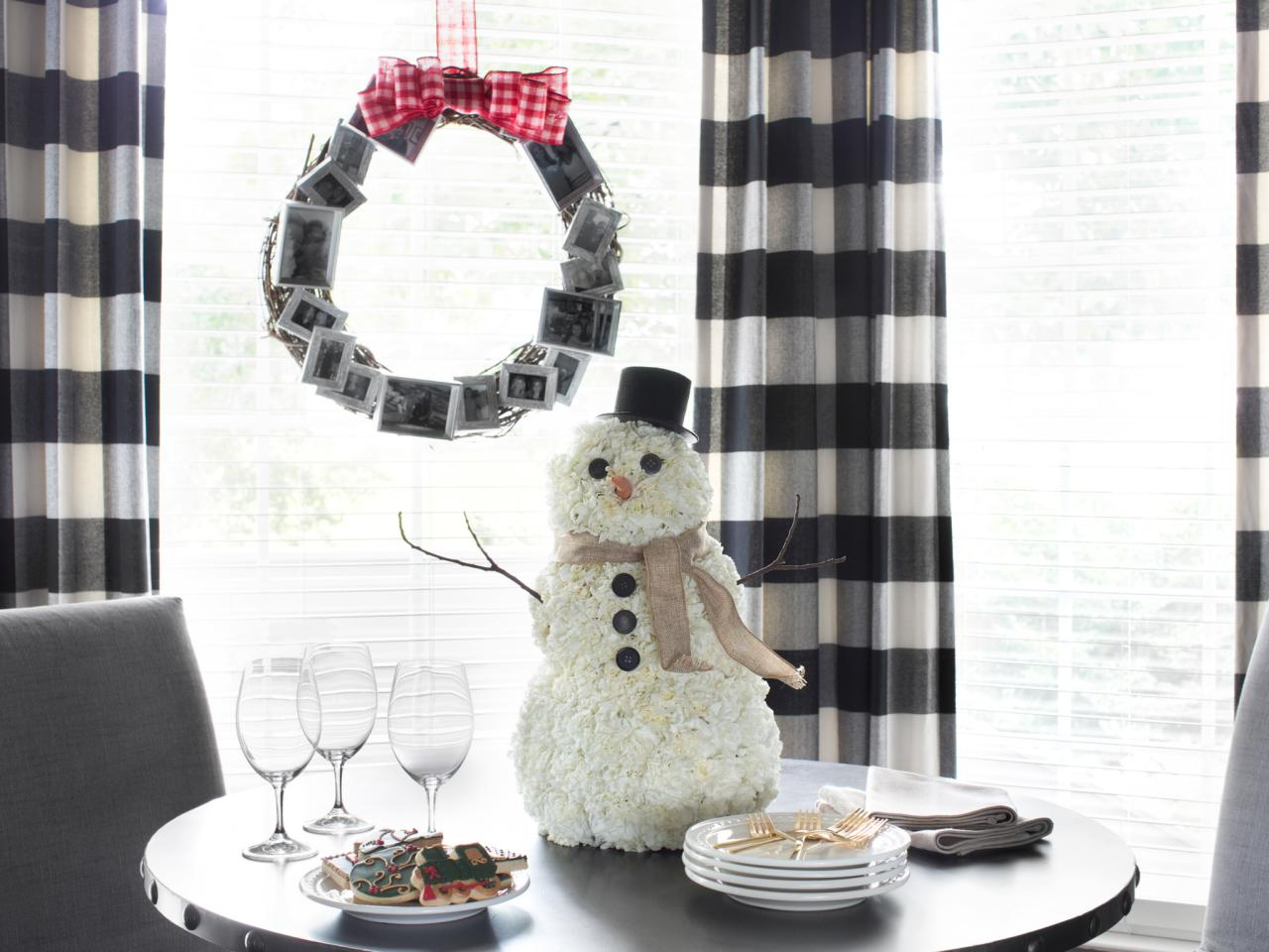 How to make a carnation snowman centerpiece hgtv