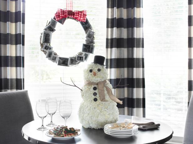 Black and White Holiday Table Setting With Snowman