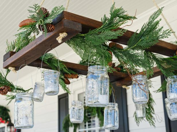 Add rustic ambience to your home this holiday with do-it-yourself lighting made from mason jars, basic lumber and tree trimmings
