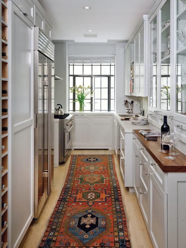 Traditional Kitchen with White Cabinets and Tribal Runner