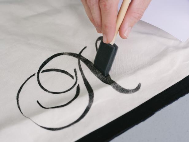 Stencil Monogram With Foam Brush