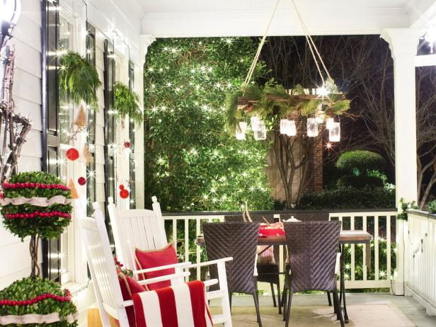 White Traditional Porch With Colorful Holiday Decor