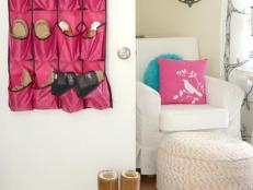 Pink Hanging Shoe Storage