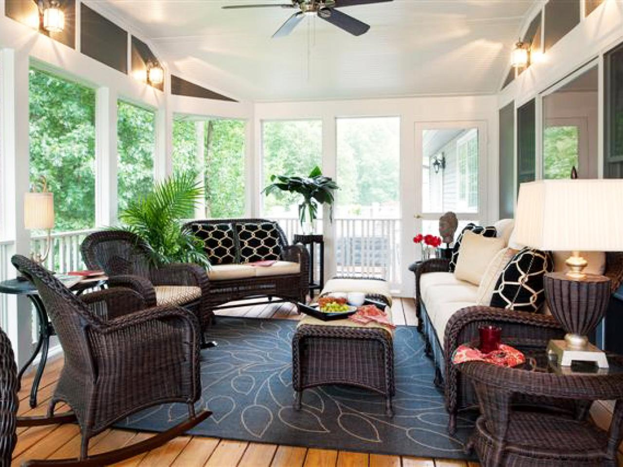 Relaxing eclectic sunroom shelley rodner hgtv - Amazing image of sunroom interior design and decoration ...
