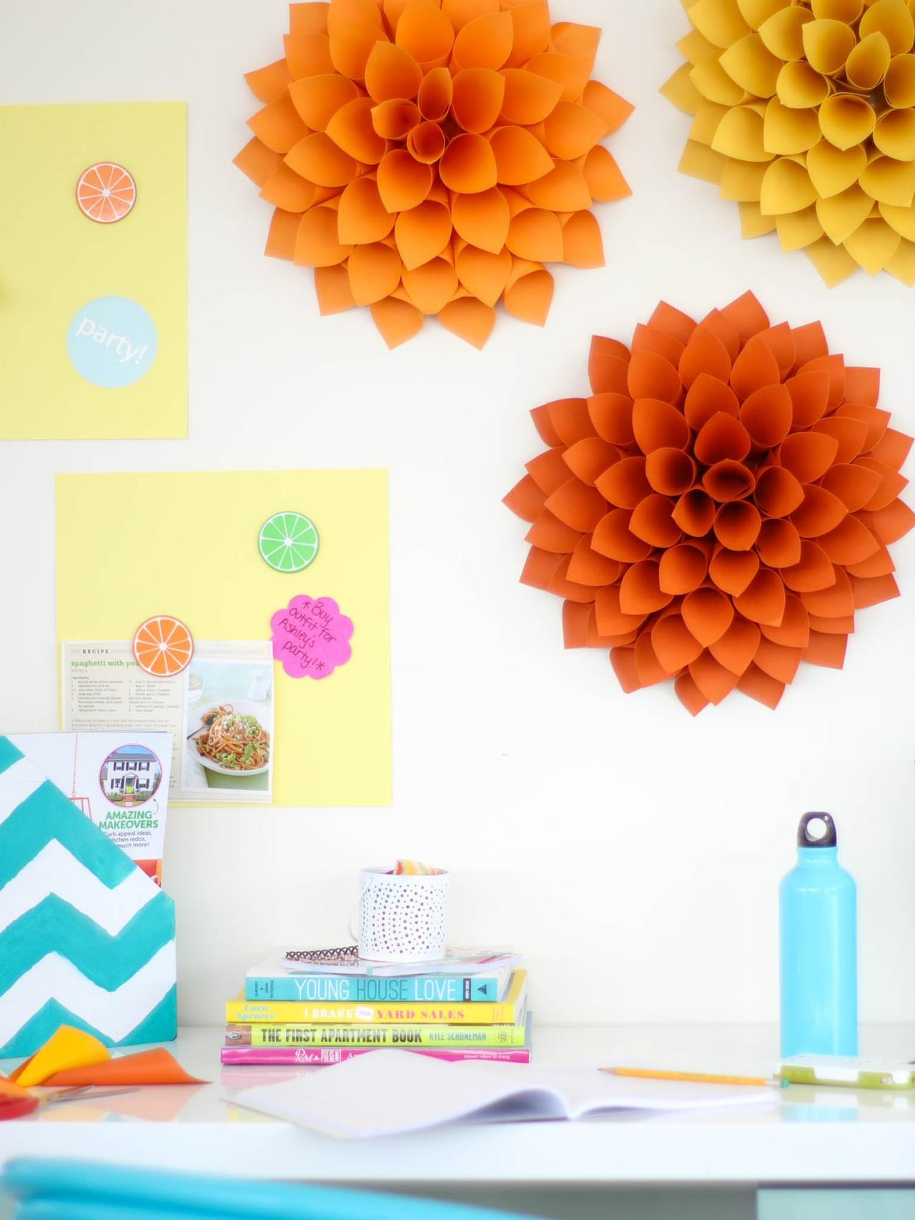 Room Decorating With Paper Easy Diy Craft Paper Dahlias Hgtv
