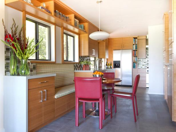 Contemporary Breakfast Area in Warm Kitchen