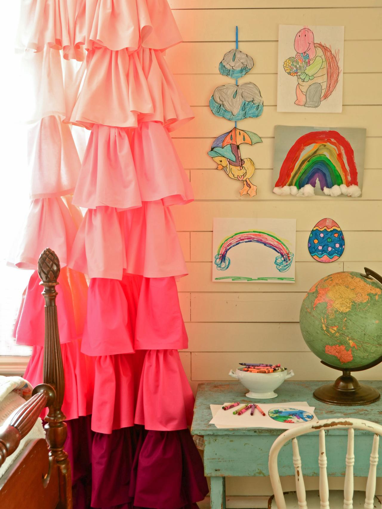 Diy ruffled shower curtain - Make Ombre Ruffled Curtains Using Bed Sheets