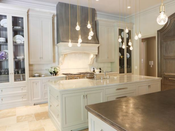 White Traditional Kitchen with Muted Palette and Pendant Lights
