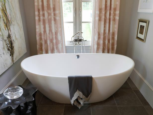 Transitional Bathroom With Freestanding Tub and Light Pink Curtains