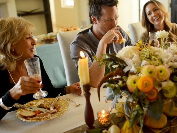 Family Enjoying Thanksgiving Dinner