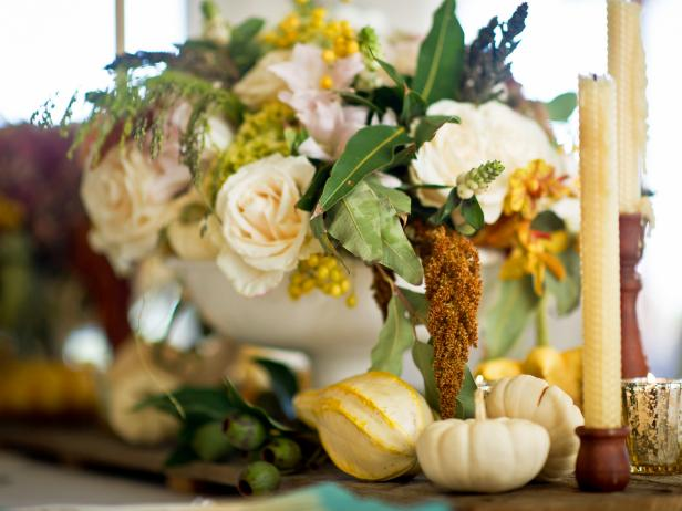 Traditional White and Yellow Floral Centerpiece