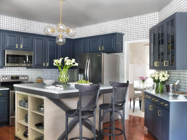 Navy Blue Cabinets In Contemporary Kitchen