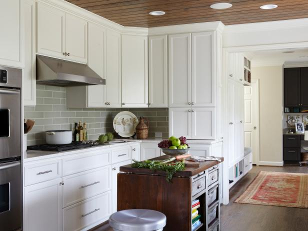 White Transitional Kitchen With Gray Subway Tile Backsplash