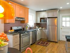 White Transitional Kitchen With Orange Cabinets