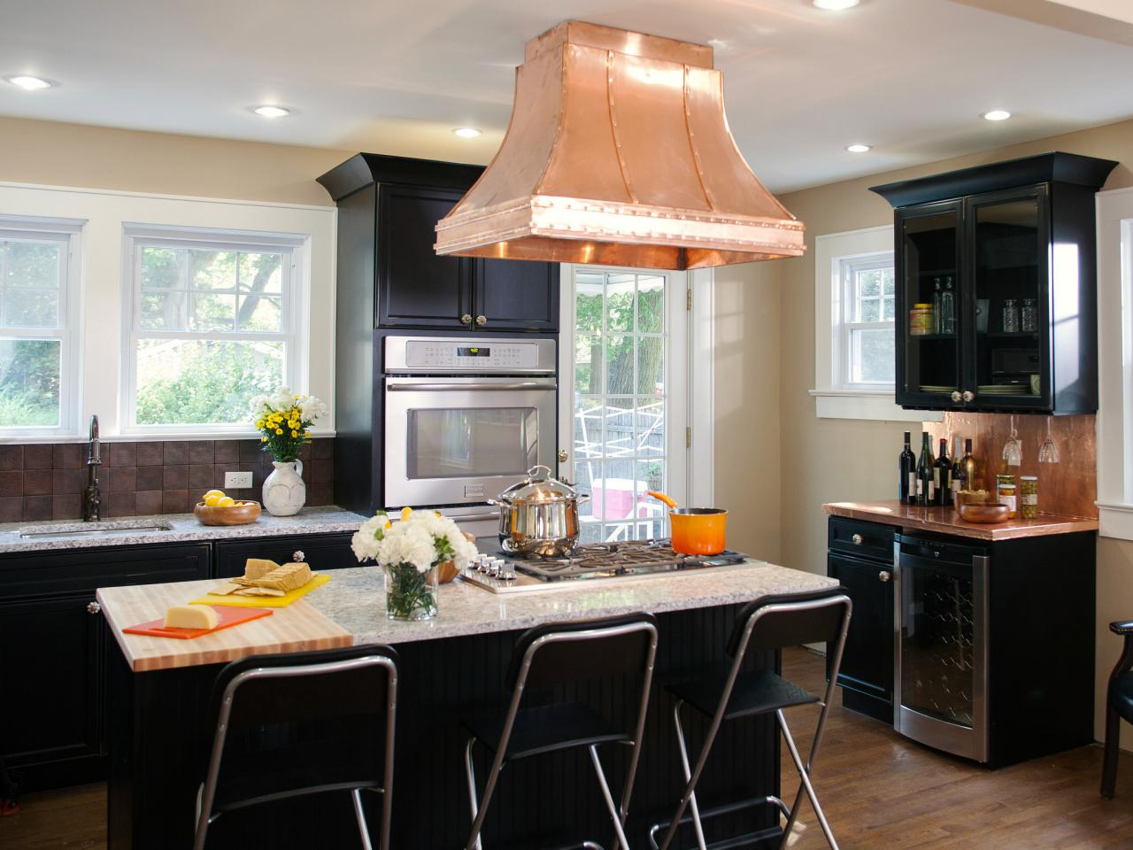 White And Black Traditional Kitchen black kitchen cabinets: pictures, ideas & tips from hgtv | hgtv