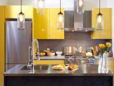 Modern Kitchen With Glossy Yellow Cabinets