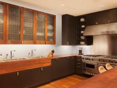 Contemporary Kitchen With Aluminum Cabinet Screens