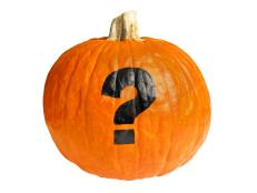 Pumpkin With Painted Question Mark