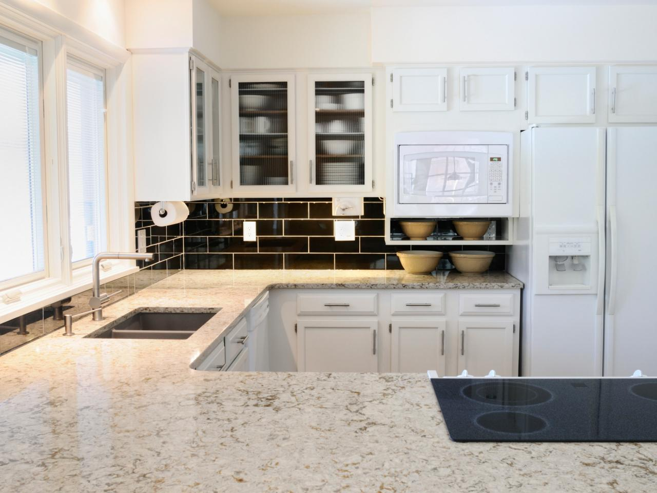 White granite kitchen countertops pictures ideas from hgtv hgtv Kitchen platform granite design