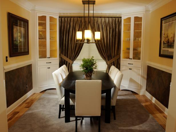 Transitional Brown and Cream Dining Room