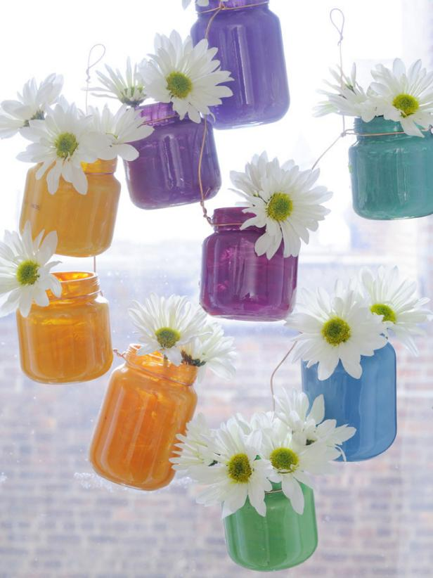 Baby Food Jars Turned Into Hanging Vases