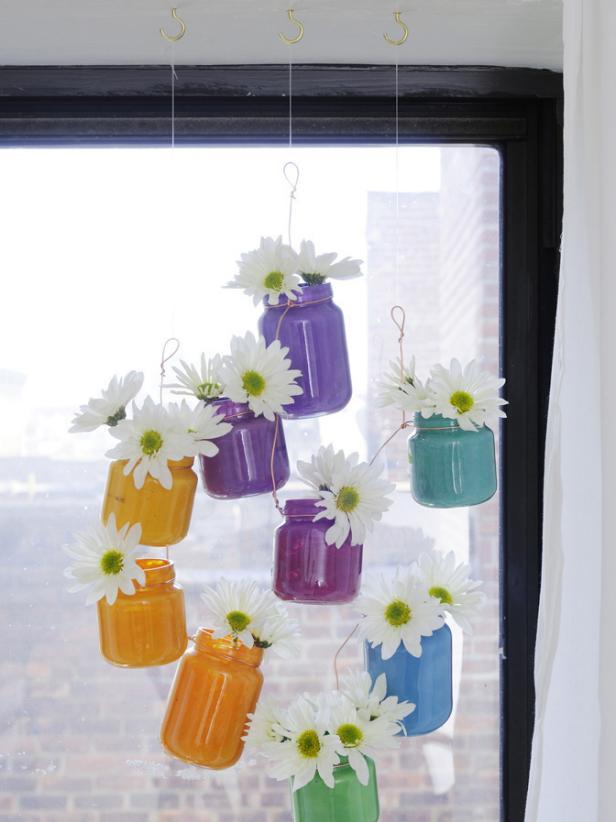 Baby Food Jar Vases Hanging in Window