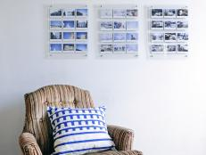 Striped Armchair and Photographs