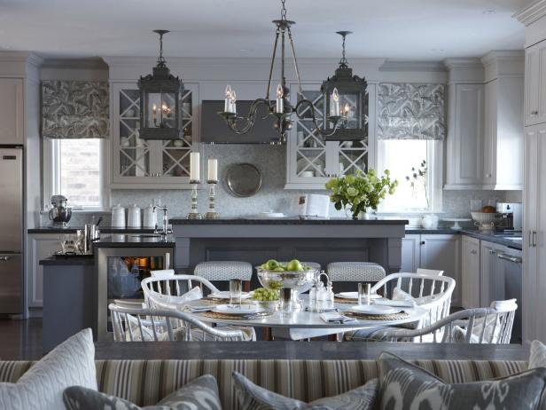 Transitional Kitchen With Gray Hues and Lantern Lighting