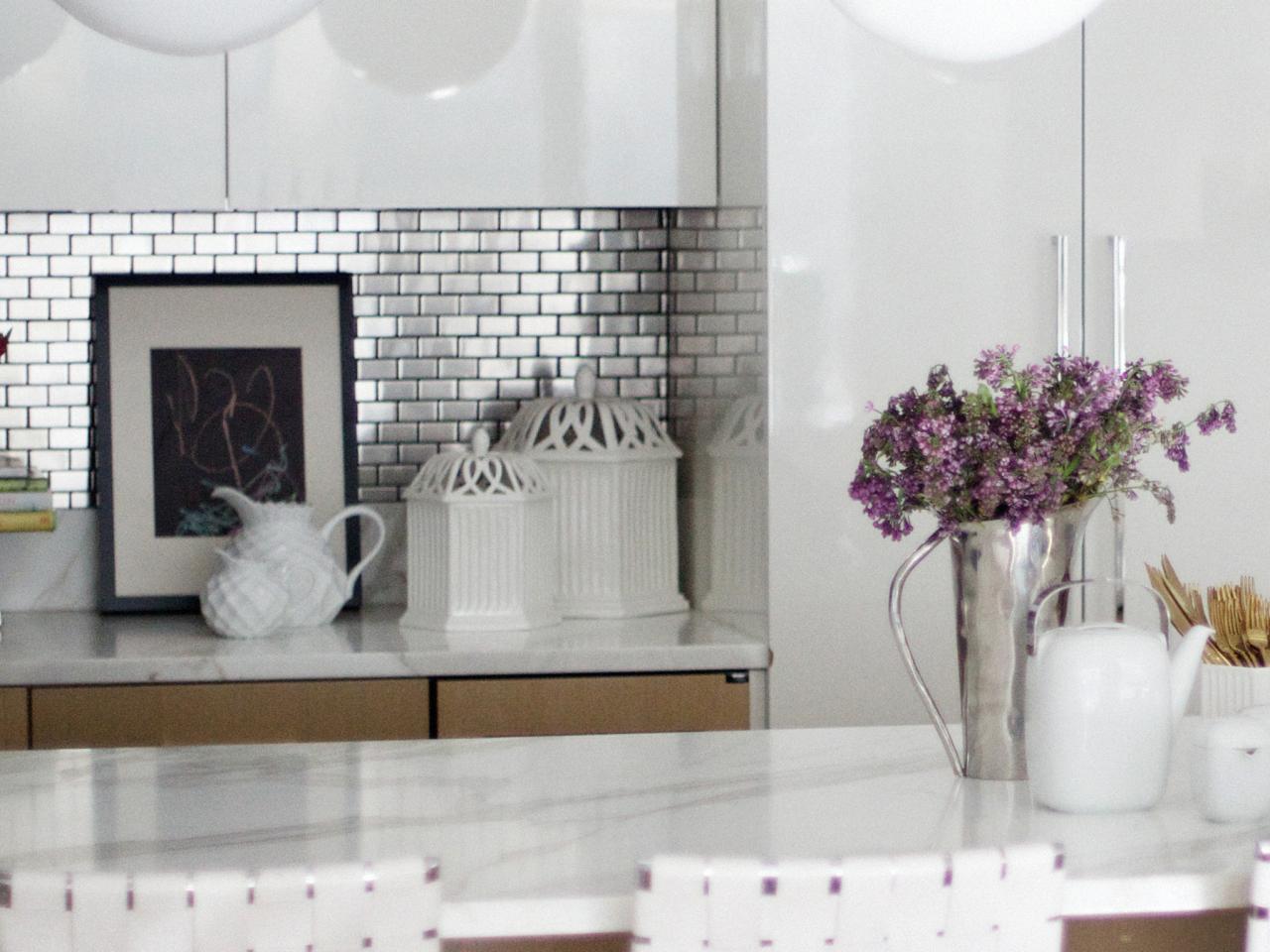 Uncategorized Tile Sheets For Kitchen Backsplash tiling a backsplash with tile sheets stainless steel tiles pictures ideas from hgtv hgtv