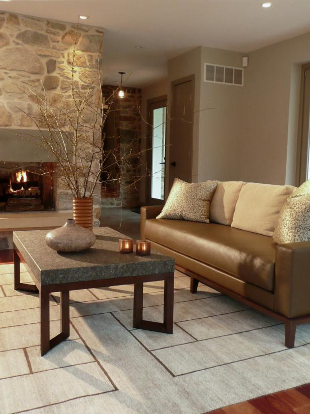 Neutral Living Space WIth Low Coffee Table, Brown Sofa, Fireplace