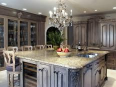Luxurious Kitchen with Island and Chandelier