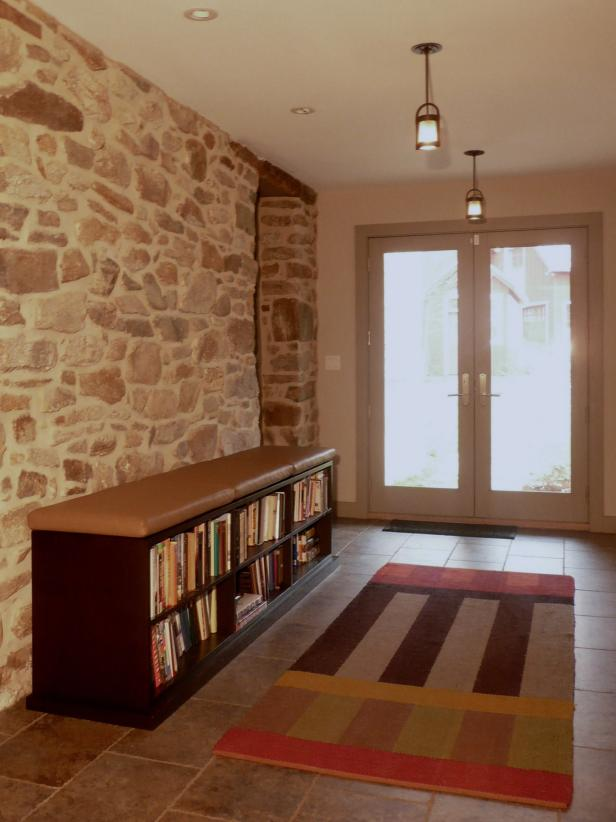 Foyer With Stone Wall