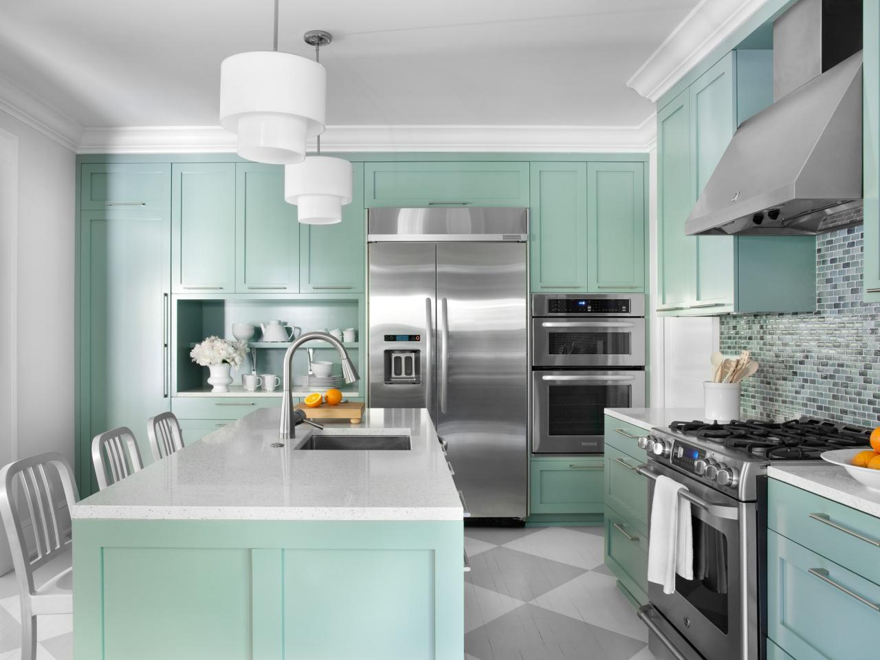 Green Painted Kitchen Cabinets color ideas for painting kitchen cabinets + hgtv pictures | hgtv