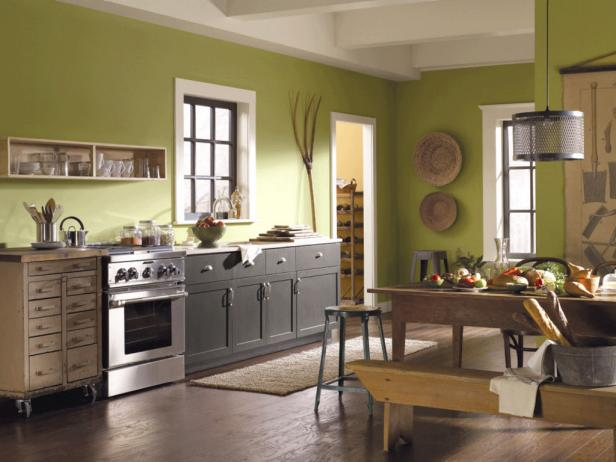 Green kitchen paint colors pictures ideas from hgtv hgtv Best colors to paint a kitchen