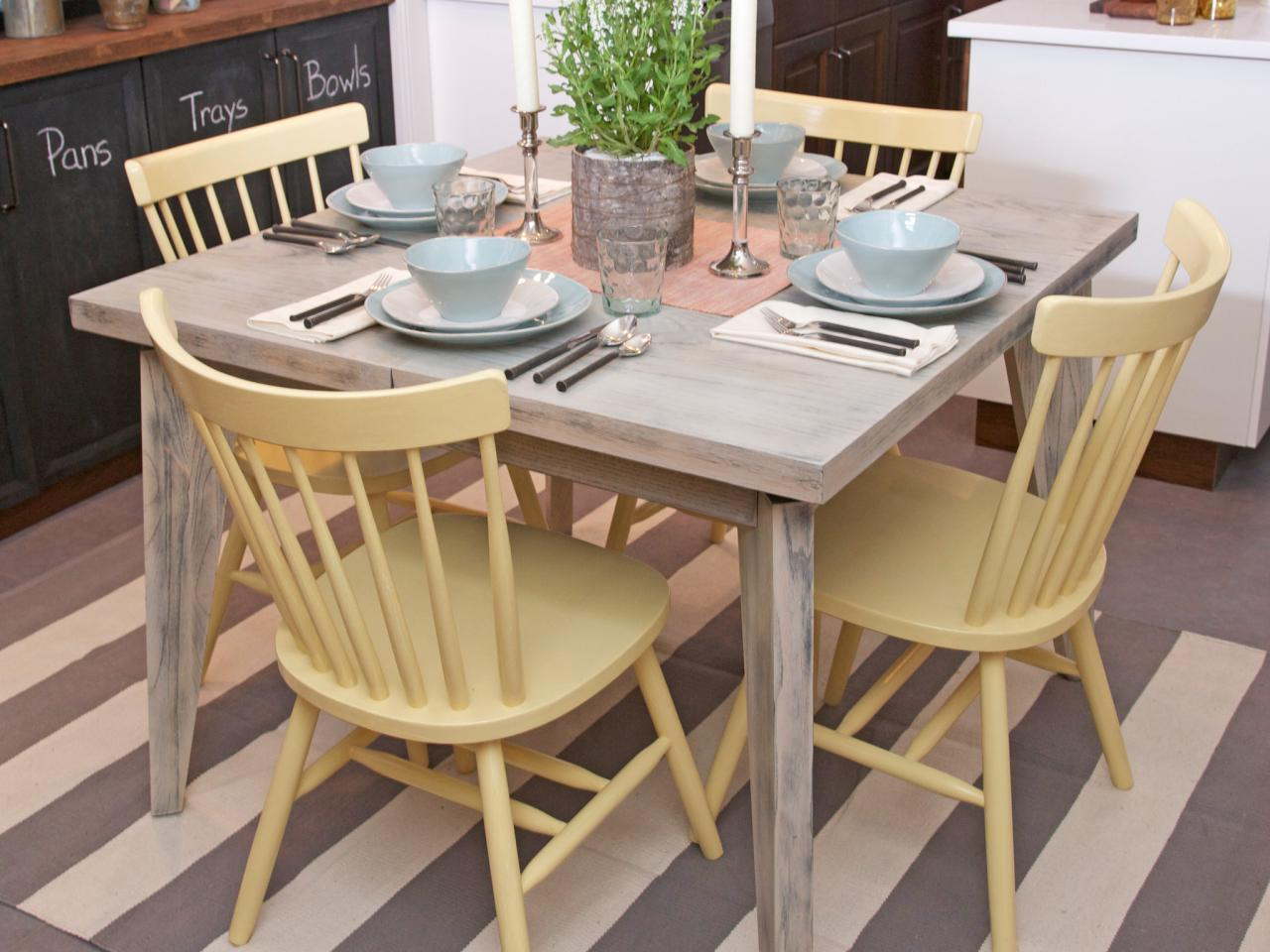 Painting kitchen tables pictures ideas tips from hgtv for Painted kitchen chairs