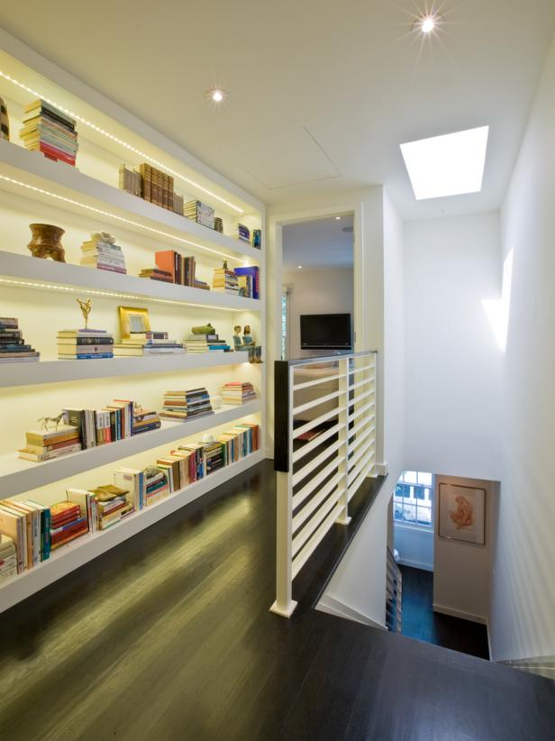 Built-In Bookshelf at the Top of a Stairway