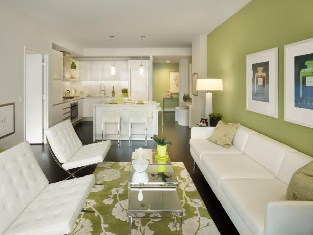White Modern Kitchen and Living Room With Apple-Green Accent Wall