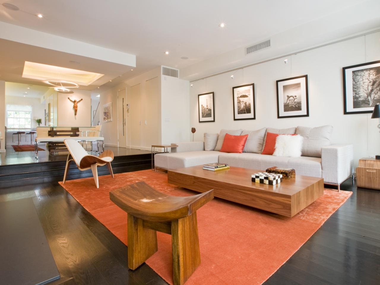 Orange modern living room - Modern Living Room With Sectional Sofa And Orange Accents