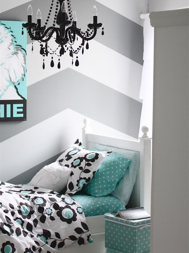 Gray and White Chevron Girls Room with Aqua Bedding
