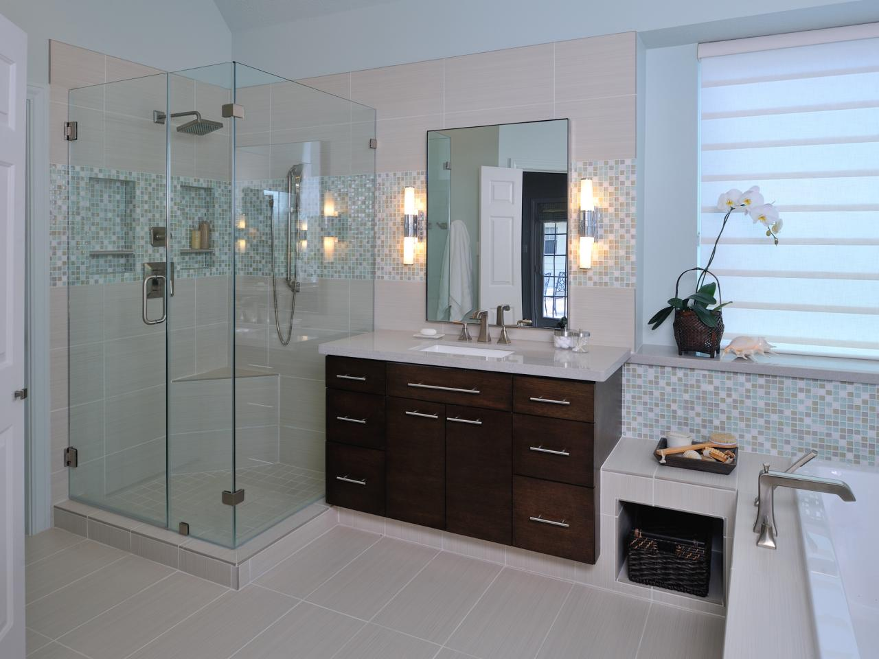 Making space with a contemporary bath remodel carla for Small full bathroom designs