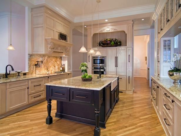 High-End Traditional Kitchen With Golden Granite Countertops