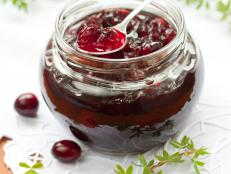 Cranberry Ginger Relish in Glass Jar