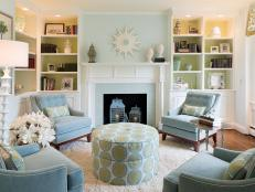 Blue and Green Transitional Living Room