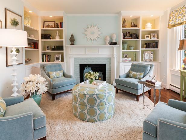 Transitional Blue and Green Living Room With Polka-Dot Ottoman