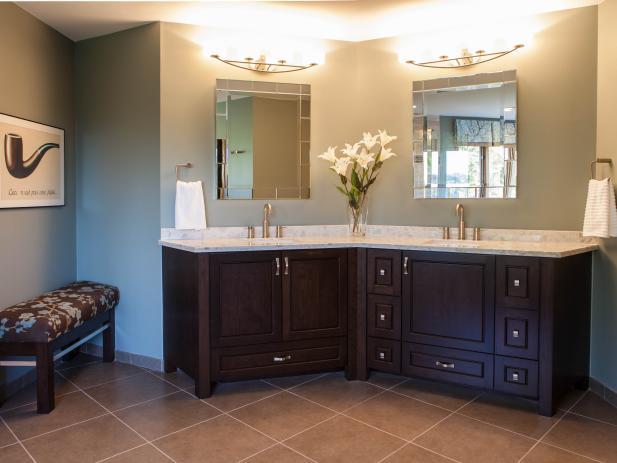 Cherry Double Bathroom Vanity With Marble Countertop