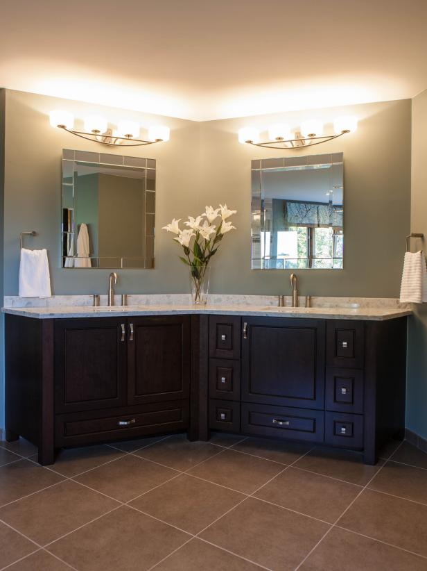 Angled Double Cherry Vanity With Gray Walls, Tile Floor