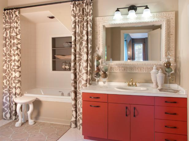 Neutral Transitional Bathroom With Red Vanity