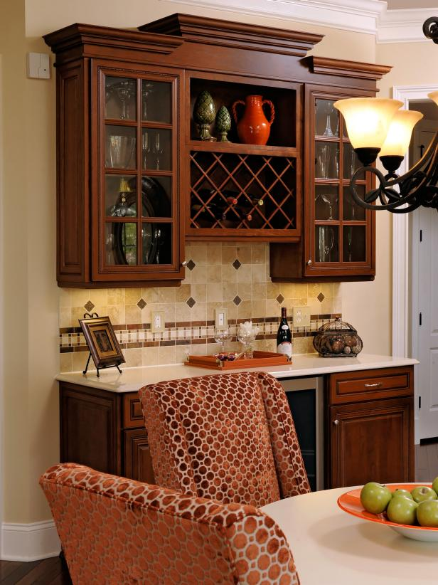 Brown Polka Dot Chairs and Wood Cabinets with Wine Rack