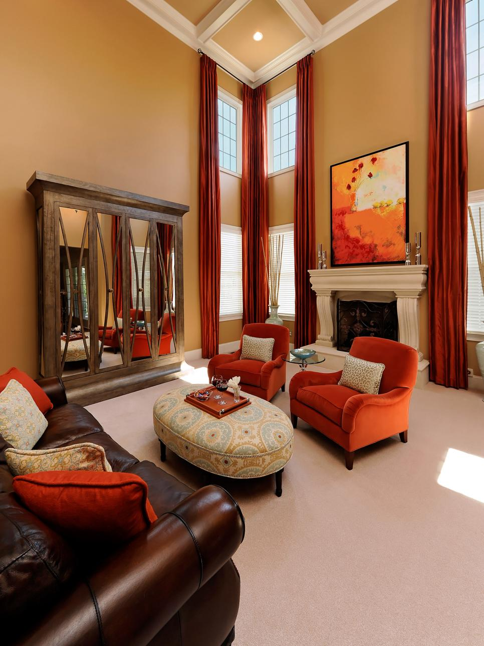 Home staging tips for fall hgtv - Airy brown and cream living room designs inspired from outdoor colors ...