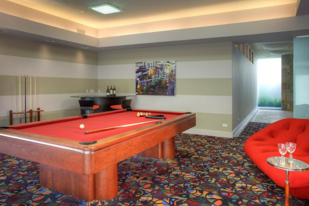 Colorful, Striped Game Room